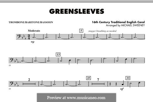 Greensleeves (Printable scores): For ensemble - Trombone/Baritone B.C./Bassoon part by folklore