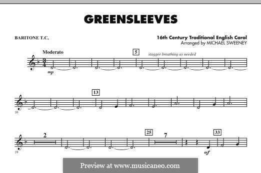 Greensleeves (Printable scores): For ensemble - Baritone T.C. part by folklore