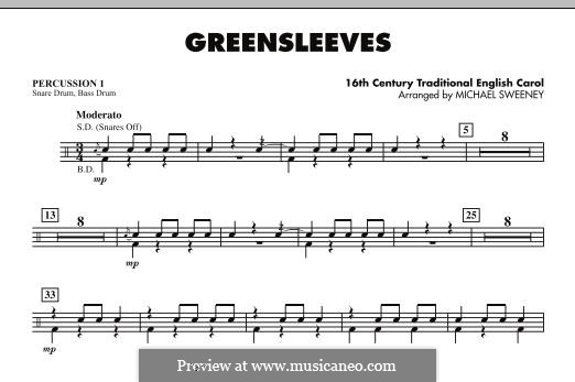 Greensleeves (Printable scores): For ensemble - Percussion 1 part by folklore