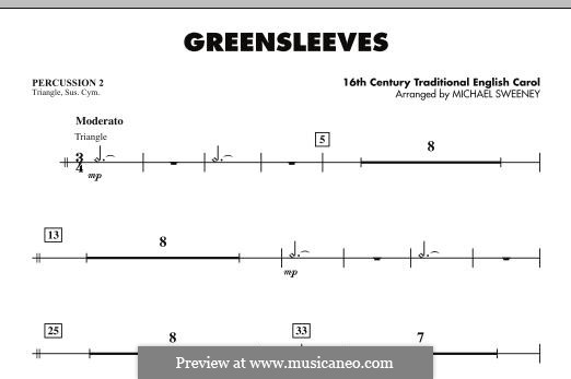 Greensleeves (Printable scores): For ensemble - Percussion 2 part by folklore