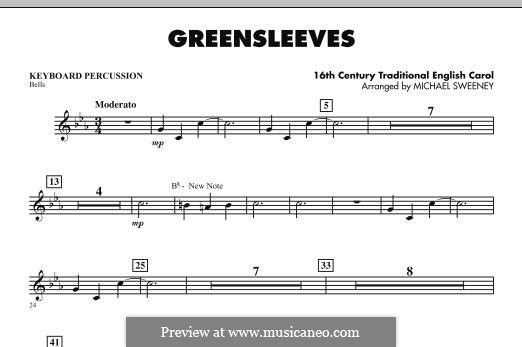 Greensleeves (Printable scores): For ensemble - Keyboard Percussion part by folklore