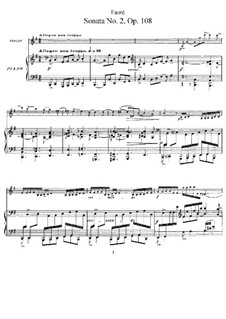Sonate für Violine und Klavier in e-Moll, Op.108 No.2: Partitur by Gabriel Fauré