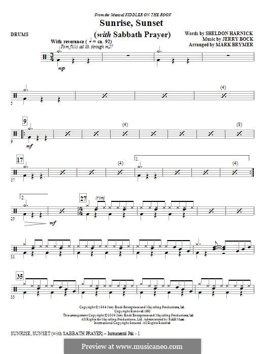 Sunrise, Sunset (from Fiddler on the Roof): Drums part by Jerry Bock