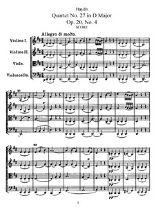 Streichquartett Nr.27 in D-Dur, Hob.III/34 Op.20 No.4: Partitur by Joseph Haydn