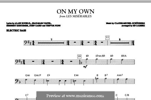 On My Own: Electric Bass part by Claude-Michel Schönberg