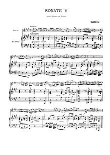 Sonate für Violine und Cembalo in A-Dur, HWV 372 Op.1 No.14: Version für Violine und Klavier – Partitur, Stimme by Georg Friedrich Händel