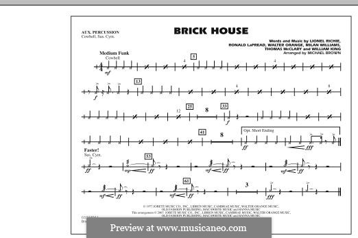 Brick House (The Commodores): Aux Percussion part by Lionel Richie, Milan Williams, Ronald LaPread, Thomas McClary, Walter Orange, William King