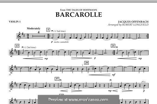 Barcarolle (Printable Scores): Version for strings – Violin 1 part by Jacques Offenbach