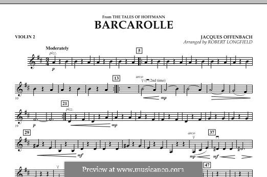 Barcarolle (Printable Scores): Version for strings – Violin 2 part by Jacques Offenbach
