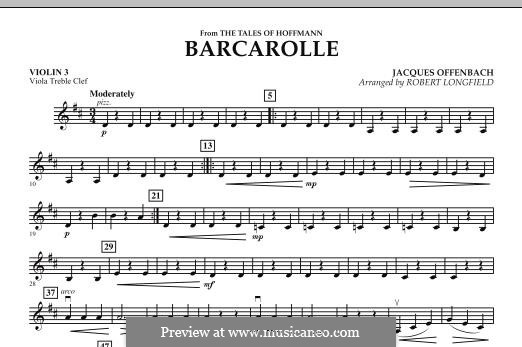 Barcarolle (Printable Scores): Version for strings – Violin 3 (Viola Treble Clef) part by Jacques Offenbach