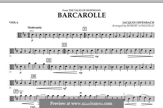 Barcarolle (Printable Scores): Version for strings – Viola part by Jacques Offenbach