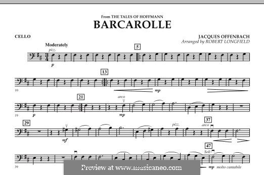 Barcarolle (Printable Scores): Version for strings – Cello part by Jacques Offenbach
