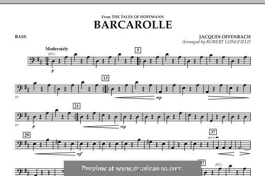 Barcarolle (Printable Scores): Version for strings – Bass part by Jacques Offenbach