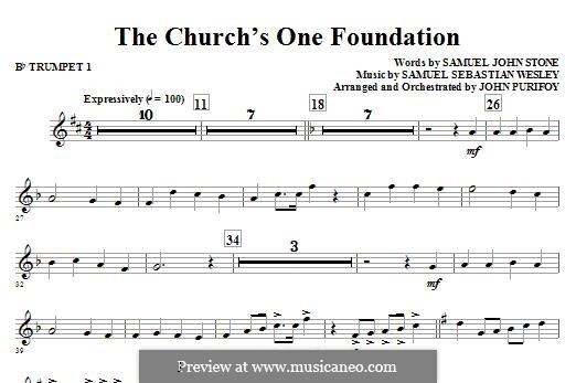 The Church's One Foundation: Bb Trumpet 1 part by Samuel Sebastian Wesley