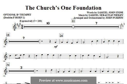 The Church's One Foundation: Opt. Trumpet (Doubles Horn 1) part by Samuel Sebastian Wesley