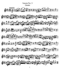 Sonate für Flöte und Basso Continuo Nr.3, QV 1:16 Op.1: Solostimme by Johann Joachim Quantz
