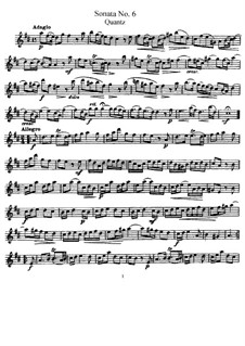Sonate für Flöte und Basso Continuo Nr.6, QV 1:49 Op.1: Solostimme by Johann Joachim Quantz