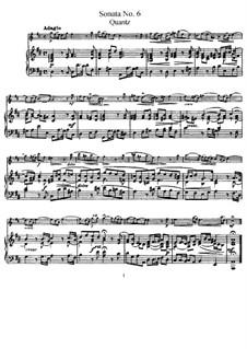 Sonate für Flöte und Basso Continuo Nr.6, QV 1:49 Op.1: Version für Flöte und Klavier – Partitur by Johann Joachim Quantz