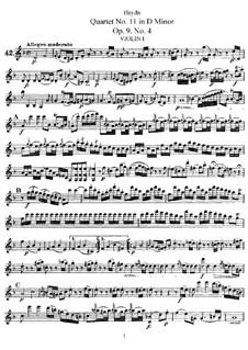 Streichquartett Nr.11 in d-Moll, Hob.III/22 Op.9 No.4: Stimmen by Joseph Haydn