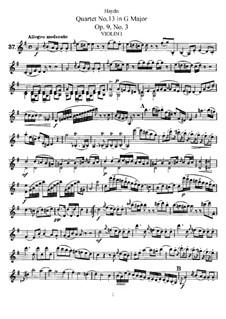 Streichquartett Nr.13 in G-Dur, Hob.III/21 Op.9 No.3: Stimmen by Joseph Haydn