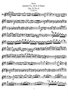 Streichquartett Nr.16 in A-Dur, Hob.III/22 Op.9 No.6: Stimmen by Joseph Haydn