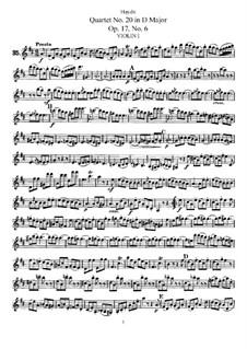 Streichquartett Nr.20 in D-Dur, Hob.III/30 Op.17 No.6: Stimmen by Joseph Haydn