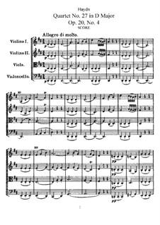 Streichquartett Nr.27 in D-Dur, Hob.III/34 Op.20 No.4: Vollpartitur, Stimmen by Joseph Haydn