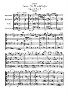 Streichquartett Nr.29 in C-Dur, Hob.III/41 Op.33 No.5: Vollpartitur, Stimmen by Joseph Haydn