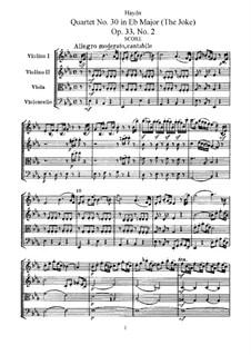 Streichquartett Nr.30 in Es-Dur 'Der Scherz', Hob.III/38 Op.33 No.2: Vollpartitur, Stimmen by Joseph Haydn