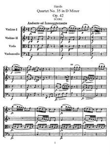 Streichquartett Nr.35 in d-Moll, Hob.III/43 Op.42: Vollpartitur, Stimmen by Joseph Haydn