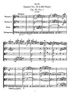 Streichquartett Nr.36 in B-Dur, Hob.III/44 Op.50 No.1: Vollpartitur, Stimmen by Joseph Haydn