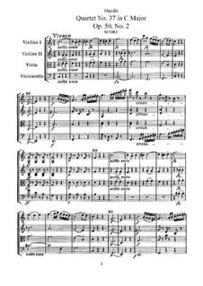 Streichquartett Nr.37 in C-Dur, Hob.III/45 Op.50 No.2: Vollpartitur, Stimmen by Joseph Haydn