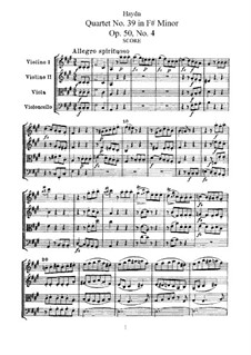Streichquartett Nr.39 in fis-Moll, Hob.III/47 Op.50 No.4: Vollpartitur, Stimmen by Joseph Haydn
