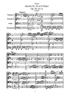 Streichquartett Nr.41 in D-Dur, Hob.III/49 Op.50 No.6: Vollpartitur, Stimmen by Joseph Haydn