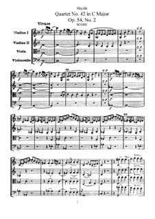 Streichquartett Nr.42 in C-Dur, Hob.III/57 Op.54 No.2: Vollpartitur, Stimmen by Joseph Haydn