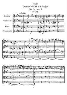 Streichquartett Nr.44 in E-Dur, Hob.III/59 Op.54 No.3: Vollpartitur, Stimmen by Joseph Haydn