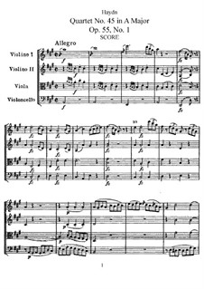 Streichquartett Nr.45 in A-Dur, Hob.III/60 Op.55 No.1: Vollpartitur, Stimmen by Joseph Haydn