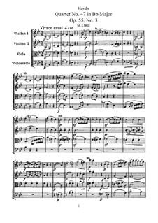 Streichquartett Nr.47 in B-Dur, Hob.III/62 Op.55 No.3: Vollpartitur, Stimmen by Joseph Haydn
