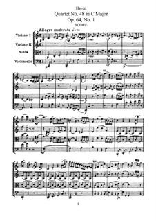 Streichquartett Nr.48 in C-Dur, Hob.III/65 Op.64 No.1: Vollpartitur, Stimmen by Joseph Haydn