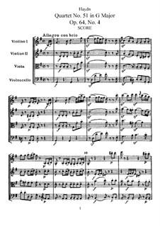Streichquartett Nr.51 in G-Dur, Hob.III/66 Op.64 No.4: Vollpartitur, Stimmen by Joseph Haydn