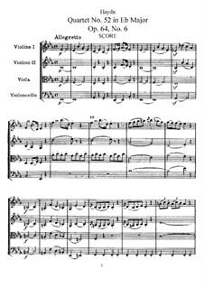 Streichquartett Nr.52 in Es-Dur, Hob.III/64 Op.64 No.6: Vollpartitur, Stimmen by Joseph Haydn