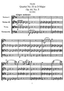 Streichquartett Nr.53 in D-Dur 'Lerche', Hob.III/63 Op.64 No.5: Partitur, Stimmen by Joseph Haydn