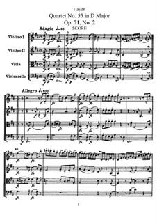 Streichquartett Nr.55 in D-Dur, Hob.III/70 Op.71 No.2: Vollpartitur, Stimmen by Joseph Haydn