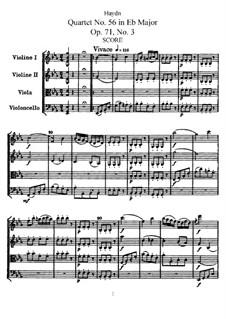 Streichquartett Nr.56 in Es-Dur, Hob.III/71 Op.71 No.3: Vollpartitur, Stimmen by Joseph Haydn