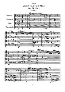 Streichquartett Nr.57 in C-Dur, Hob.III/72 Op.74 No.1: Vollpartitur, Stimmen by Joseph Haydn