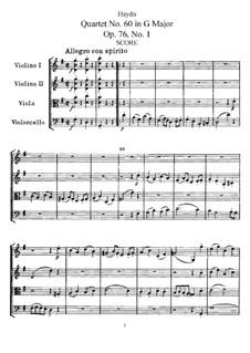 Streichquartett Nr.60 in G-Dur, Hob.III/75 Op.76 No.1: Vollpartitur, Stimmen by Joseph Haydn