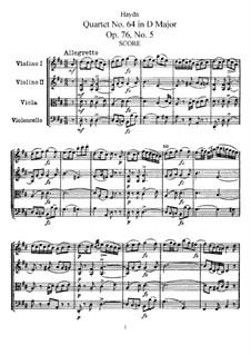 Streichquartett Nr.64 in D-Dur, Hob.III/79 Op.76 No.5: Vollpartitur, Stimmen by Joseph Haydn