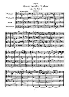 Streichquartett Nr.65 in Es-Dur, Hob.III/80 Op.76 No.6: Vollpartitur, Stimmen by Joseph Haydn