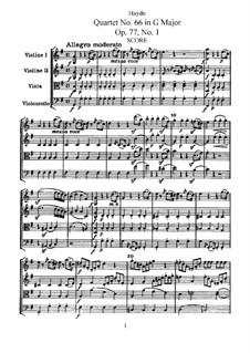 Streichquartett Nr.66 in G-Dur, Hob.III/81 Op.77 No.1: Vollpartitur, Stimmen by Joseph Haydn
