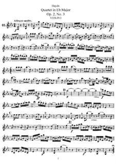 Streichquartett in Es-Dur, Hob.III/9 Op.2 No.3: Stimmen by Joseph Haydn
